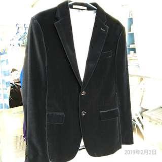 全新剪牌黑色絲絨Zara suit slim fit 西裝,eur 48