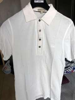 🚚 Burberry white polo tee with designs