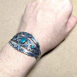 [ 古著 ] ~40s Navajo Fred Harvey Cross Arrows Bracelet 納瓦霍護手/手環