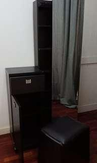 Tall Sliding Dressing Table With Drawer + Cabinet and Chair