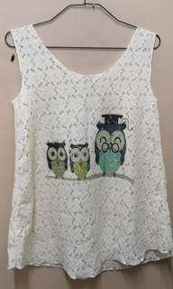 The Owl Cute Lace Singlet