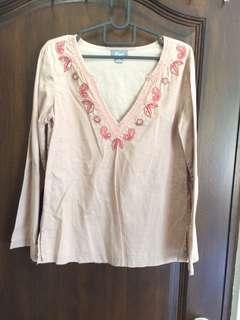 Bohemian tunic sleeved blouse top
