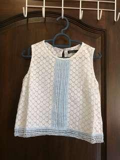 🚚 Powder blue crochet crop blouse top