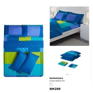 Ikea (KING) Brunkrissla 6-Pcs Bedlinen Set, Blue