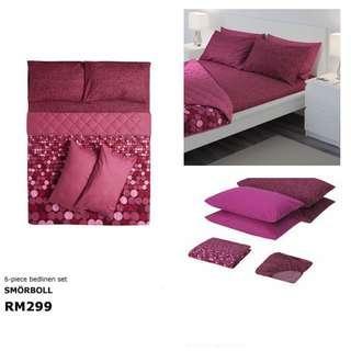 Ikea (King) Smorboll 6 Pcs Bedlinen Set, Dark Pink