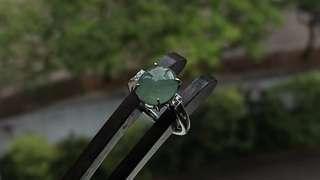 🚚 Translucent Jadeite (Myanmar Jade) Cabochon on 925 Silver Ring.