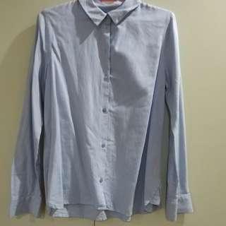 Blue Pinstriped Long Sleeve Polo