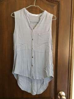 Valley girl powder blue tunic sleeveless blouse