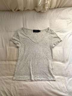 Minkpink grey speckle v-neck tee