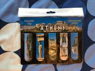 Magnetic clip bookmarks from Athens