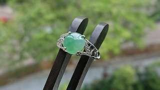 Icy Fruity Green Jadeite (Myanmar Jade) Cabochon on 925 Silver Ring