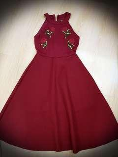Maroon dress with floral embroidery