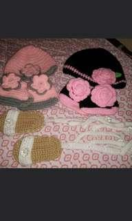 crochet bonnet and booties