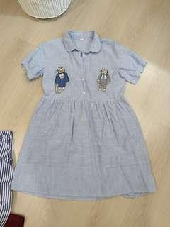 Casual blue stripes dress with cats embroidery