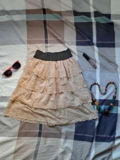 Korean Coral Peach Lace Ruffled Skirt