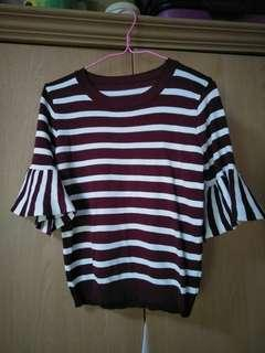 Striped top with peplum/flute sleeves