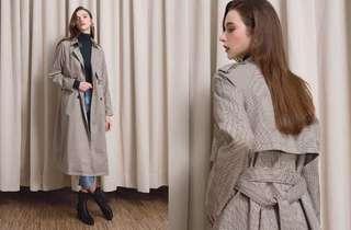 🚚 *徵收* air space 雙釦法蘭絨格紋長版風衣外套
