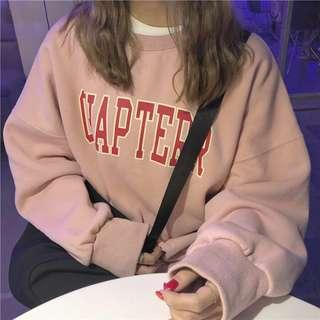 """Ulzzang oversized """"CHAPTERR"""" pink sweatshirt"""