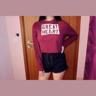 PULL AND BEAR Long-sleeve crop top (Maroon)