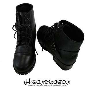 韓版釦環拉鍊式中跟短靴 黑38