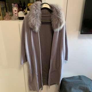 Fur grey long wool coat