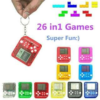 Portable Mini Snake Tetris Game Console Keychain LCD Handheld Game