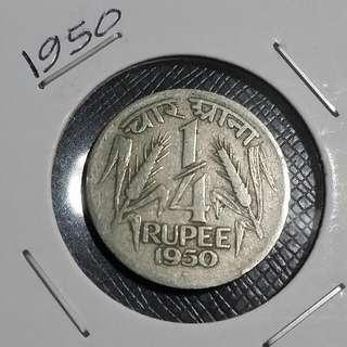 1950 India 1/4 Rupee Coin