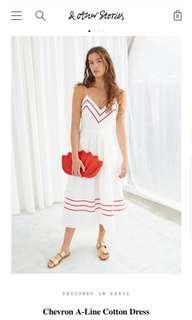 & Other Stories Chevron A-Line Cotton Dress