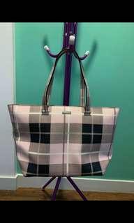 Kate Spade Newbury alane Plaid Gray Black Large Travel Tote Pink Vinyl Lap top Bag