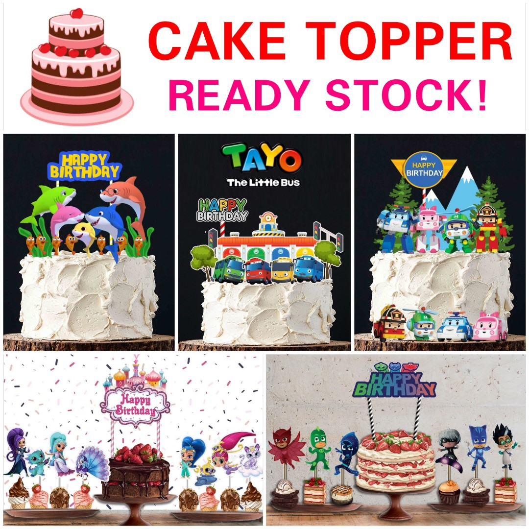 1set12 Baby Shark LOL Tayo Minecraft Transformer Cake Toppers
