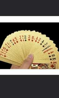 🚚 Gold poker card normal size good quality not flimsy