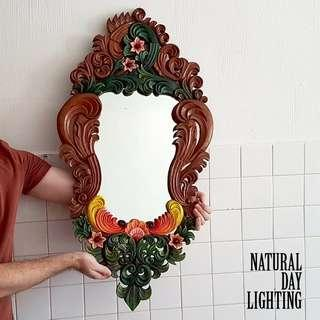 OMBRE vintage carved wooden mirror