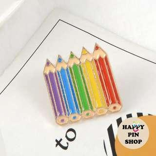 [AVAIL] Rainbow Colour Pencils Enamel Pin (Stationery Lover, LGBT Pride)