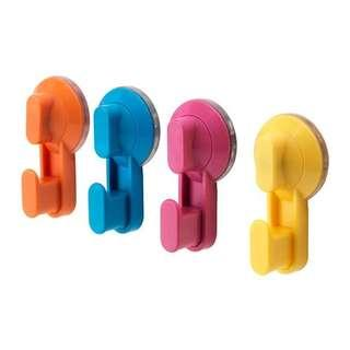 NEW IKEA Set of 4 Colorful Hooks w/ Suction Cup (Singapore)