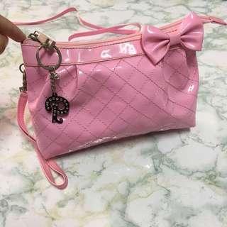 🚚 二手/粉色格紋蝴蝶結兩用小包包