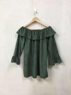 🚚 九成新/綠色氣質荷葉袖荷葉領平口洋裝