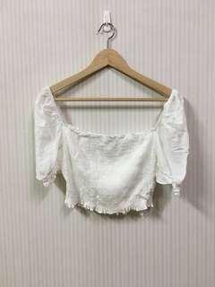 🚚 僅下水/白色短版蓬蓬袖方領上衣