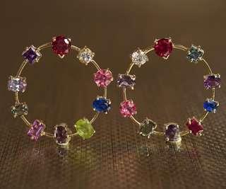 Gemstone Earrings (Ruby, sapphires, tourmaline, amethyst, zirconia)