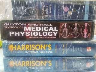 Medical books (Harrisons, Robbins, Guyton)