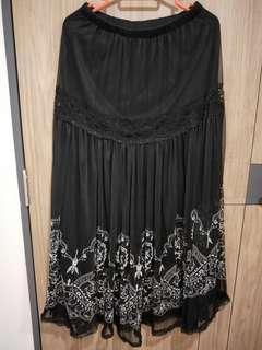 Black Lace Long Skirt