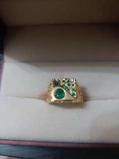綠寶石鑽石戒指18k