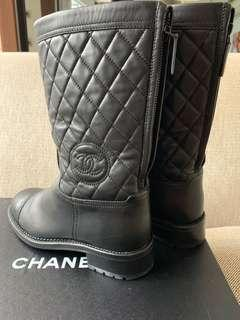 Chanel Mid Calf Leather Boots