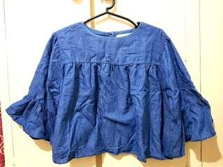 Kashieca Denim Top (S) Bell-shaped Sleeves