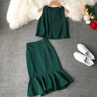 🚚 Two Piece Dress - Forest Green
