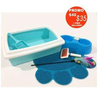 Promo + FREE Delivery - Welcome Pack Cat/kitten (Ref: Accessories /cat cage /2 tier/ 3 tier/ 4tier / bowl/litter box/litter mat/comb)