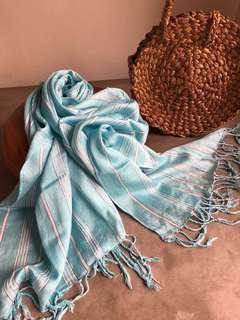 Baby blue stripe shawl
