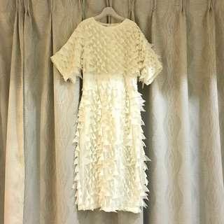 Designer Unique White Layer Midi Dinner Dress