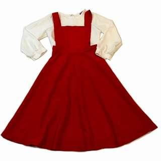 Pinafore Red Midi Dress White Long Sleeve Blouse Set Wear