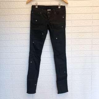 🚚 SLY 星星刺繡窄管黑色牛仔褲