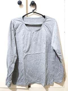 Gray Cotton Pullover Top